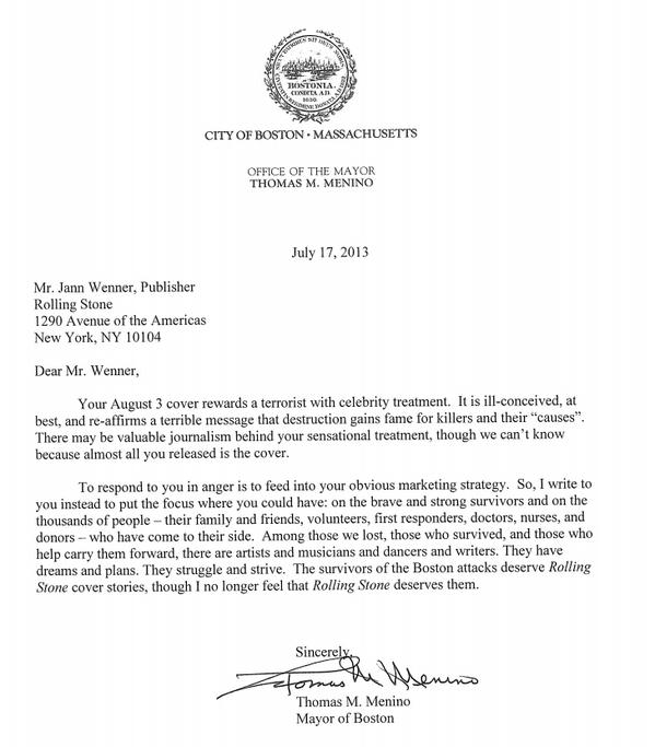 Thomas Menino's letter to Jann Wenner